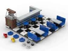 LEGO Classic Diner Restaurant Bar Stools Jukebox Booth Tile Floor 50's 60's Blue