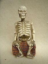 "Miniature Skeleton sitting on log  - Halloween Decor Prop - 3.25"""