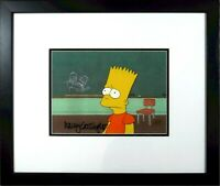 Simpsons cel original production Signed Nancy Cartwright Voice Bart Beckett COA