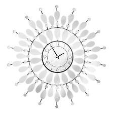 Premier Housewares 68cm Dia Large Mirrored Petal Wall Clock Decorative Design