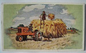 Allis Chalmers Model WC Farm Tractor, Hay Wagon Old 1941 Postcard; Sherburn MN