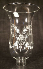 """Clear Cut Flower Glass Hurricane Lamp Shade Candle Chandelier Light, 5"""" x 8 1/4"""""""