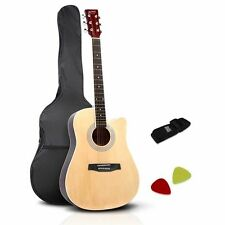 41-Inch Wooden Acoustic Guitar Classical Folk Full Size Dreadnought Bag Natural