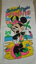 "NWT Franco/WDC 100% Cotton 28 x 55"" Island Style Minnie Mouse Neon Beach Towel"