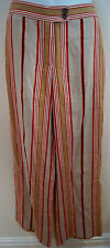ETRO MILANO Beige Red Cream Linen Striped Wide Leg Summer Trousers IT42 UK10