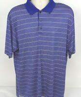 Adidas Golf Climalite S/S Polo Shirt Blue White Striped Men's, Size Large