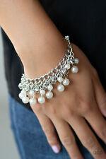 Paparazzi Jewelry dainty silver hearts & pearl charms clasp Bracelet nwt