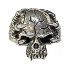 Dragon Claw Skull Ring 925 solid silver Polished Metal Biker Gothic feeanddave