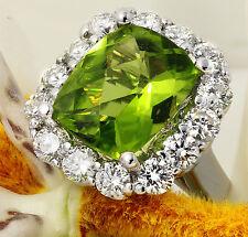 4.20 Carats NATURAL PERIDOT and DIAMOND 14K Solid White Gold Ring