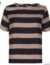 All Saints Pascale Striped Embellished Silk T Shirt Blouse Sz 2