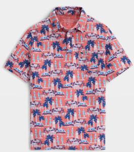 NWT Men's Vineyard Vines Printed Edgartown Jetty Red Jersey Polo Shirt Sz 2XL