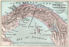 1902 Antique PANAMA CANAL Map Vintage Maritime Canal Map Gallery Wall Art 4824