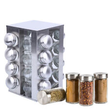 Revolving Rack Stainless Steel 16 Glass Spice Jar With Lid Stand Rotating Holder