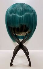 Short blue green teal cosplay wig anime with bangs textured heat resistant