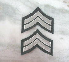 CORPORAL MILITARY SECURITY OFFICER RANK STRIPES PATCHES (BLUE / SILVER/GREY)