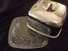 Vtg Cake Cover Square Heavy Stainless 10x10x5 w/ 12x12 Swirled Glass Cake Plate