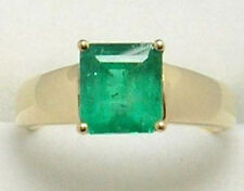 Colombian Emerald Ring Emerald Cut 1.65 Cts 14K Gold Size 7.25 US Fine Jewelry