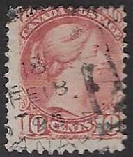 Canada Small Queen 10¢ brown red, Sc #45, Used, CV $40.00, 1895 Hamilton Sq Circ