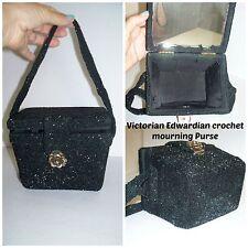 RARE Antique Victorian Edwardian Crochet Black Beaded Mourning Box Handbag Purse