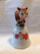 """Vintage Floral and Squirrel Ceramic Porcelain Hand Bell 5"""""""