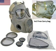 Full Face NBC Gas Mask Respirator Military Czech M10 w/ Filters + Free Bag NOS