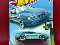 Hot Wheels '92 Ford Mustang Speed Teal Blue with White/Orange 9/10 152/250