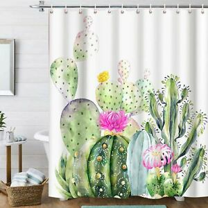 Tropical Plant Green Leaf Succulent Cactus Pink Flowers Fabric Shower Curtain