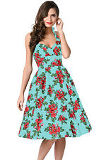 Abito Stampa Floreale Ballo Cocktail Cerimonia Top Floral Vintage Swing Dress M