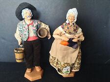Vintage France Gerard Devouassoux Old Woman & Man Dolls Figurines Statues Signed