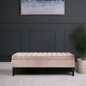 Ottoman Footstool Blanket Box Large Upholstered Storage Box Pouffe 2Seater Bench