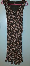 The Limited Silk Black & Tan Ruffle Front Sheer Layer Sleeveless Dress Size 8