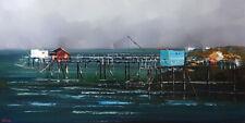 Pêcherie Carrelet paysage marin, peinture originale, tableau peinture au couteau