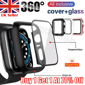 Tempered Glass Screen Protector Case Cover For iWatch Apple Watch SE 6 5 4 40 44