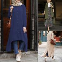 UK Womens Long Sleeve Button Down Shirt Dress High Low Top Blouse Cardigan Dress