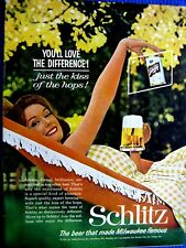 "1961 Schlitz Beer Ad-8.5 x10.5""-You'll Love the Difference-Original Print Ad"