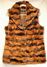 NWT-Kial Faux Mink Fur-Rich/Soft/Luxury Brown Hues-M-Carved Buttons-Collar Vest