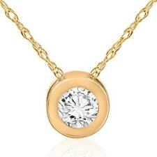 14k Yellow Gold 1/2ct TDW White Diamond Solitaire Pendant Necklace