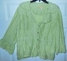 BiBA Sz 44 L 14 Jacket Blazer Cover Up Top Shirt Linen Crinkle Green Peplum EUC