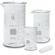 Glass Tall Form Beaker Set With Magnetic Stir Bar 3 Sizes 50 100 250ml