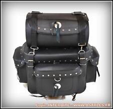 Sac rool bag sissi bar en Cuir + rouleau ( moto custom marauder dragstar harley