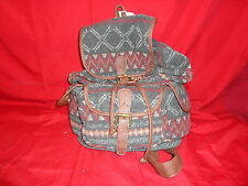 Mossimo Supply Co. Backpack Purse Handbag Zigzag Tribal with Leather Straps