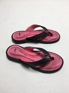 Nike Black Pink Comfort Footbed Women's Black Flip Flops Sandals - Size 8