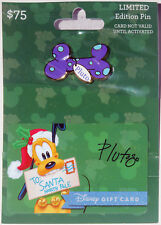 Disneyland $75 Holiday Pin with Purchase Gift Card 2015: Pluto Mint on Card