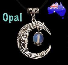 Crystal Opal Stone Charm Crescent Moon Face Pendant Suede Chain Necklace Gift