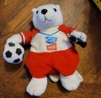 Miniature COCA-COLA Athens 2004 SOCCER Olympics POLAR BEAR Bean Bag A5