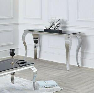 NICHES 100cm Louis Chrome Console Hallway Entrance Table Black/White/Marble