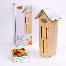 Wooden Butterfly House & Flower Seeds Insect Home Box Tower Birthday Gift