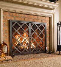 "Metal Steel Celtic Fireplace Firescreen Screen w Doors Small 38""L x 11½""W x 31""H"