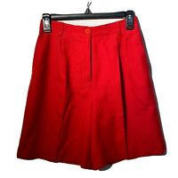 Vintage Wool Shorts Red High Waist Pleated Lined Woman's Size 8 Talbots Petites