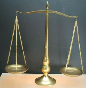 LARGE VINTAGE BRASS SCALES OF JUSTICE LAW LEGAL